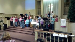 Children practicing for a special Christmas song